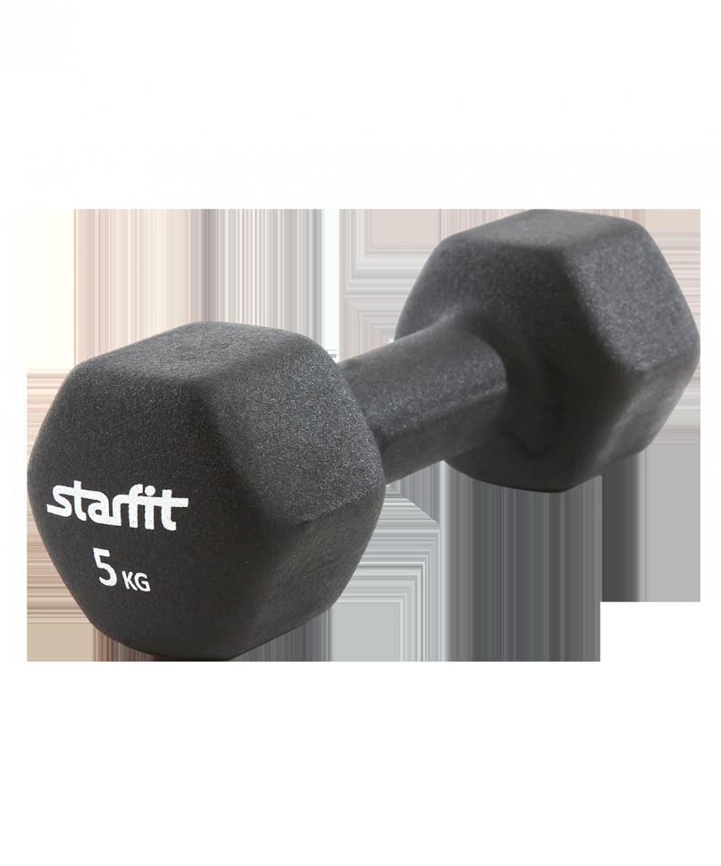 Гантель неопреновая STARFIT DB-201 5 кг, черная (1 шт.) 1/4