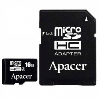 Карта памяти Apacer microSDHC Card Class 10 16GB + SD adapter
