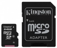 Карта памяти MicroSD 64GB Kingston Class 10 + SD адаптер