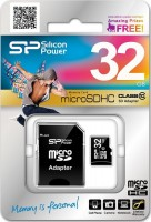 карта памяти Silicon Power microSDHC 32GB Class 10 +SD adapter